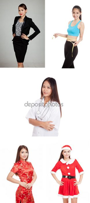 Beautiful young Asian business woman isolated on white background